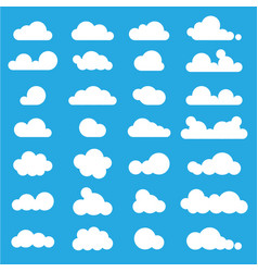 white clouds icon set on blue background vector image