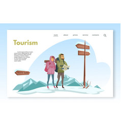 Winter travelers looking at map and road signs vector
