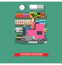 Woman use cleaning machine to clean floor grocery vector