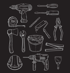 Work tools home repair chalk sketch icons vector