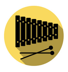 Xylophone sign flat black icon with flat vector