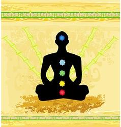 Yoga lotus pose Padmasana with colored chakra vector image