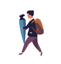 Young boy dressed in uniform walking to school and vector