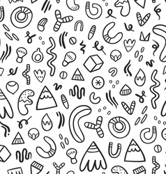 Abstract black doodles seamless pattern vector image vector image