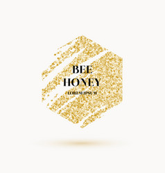 bee honey label and poster with gold glitter vector image