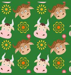 cartoon cow and buffalo seamless childish pattern vector image vector image