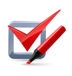 Felt-tip pen and tick mark icon vector