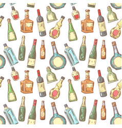 hand drawn bottles seamless pattern wine vector image vector image