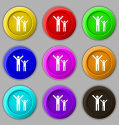 happy family icon sign symbol on nine round vector image