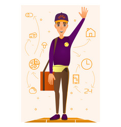 pizza delivery person in flat vector image