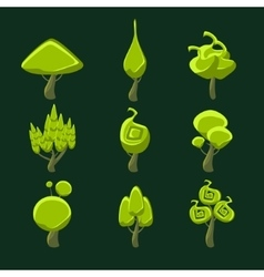 Trees With Weird Shape Crown Set vector image