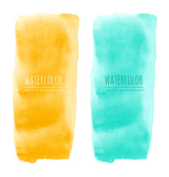 yellow and blue watercolor stain banners vector image
