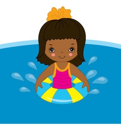 African American Little Girl in Pool vector image