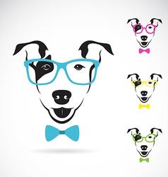 Dog bull terrier glasses vector image vector image
