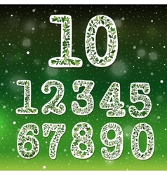 floral numbers collection vector image