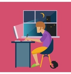 Guy in the night at home working freelance vector