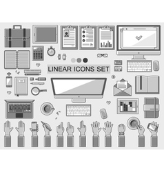 linear workplace icons collection flat vector image