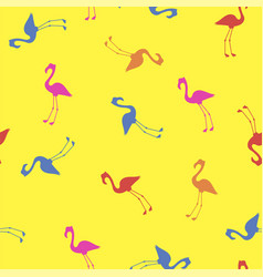 pink red blue flamingo seamless pattern vector image