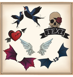 set of tattoos vector image vector image