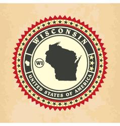 Vintage label-sticker cards of Wisconsin vector image vector image