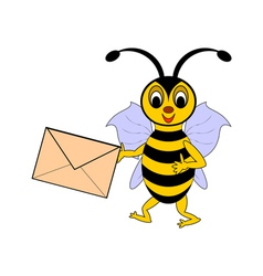 A funny cartoon bee with a letter in its hand vector image