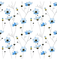 Blue flowers seamless pattern on white background vector image vector image
