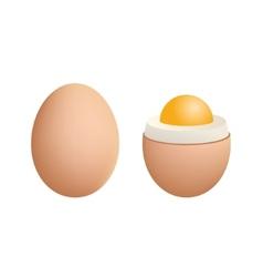 Broken Boiled Egg Isolated on White Background vector image