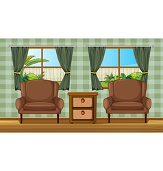Cushion chairs and side table vector image