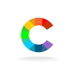 Letter C colorful rainbow logo Overlay particles vector image