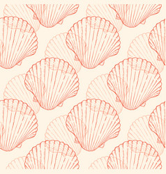seamless pattern with sea shells vector image vector image
