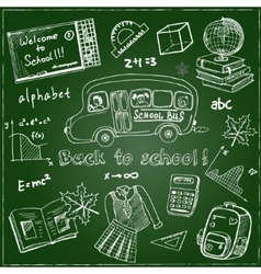Set of school drawings on chalkboard Sketches vector image