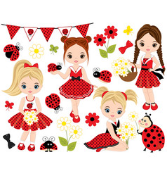 set with little girls ladybugs and flowers vector image vector image