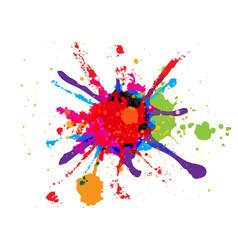 abstract splatter red orange green blue pink vector image