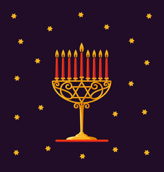 happy hanukkah gold menorah with red candles and vector image