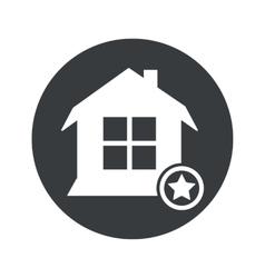 Monochrome round favorite house icon vector