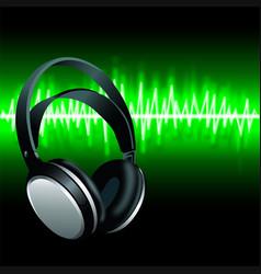 realistic headphones digital equalizer sound wave vector image vector image