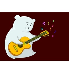 Teddy bear with guitar vector image vector image
