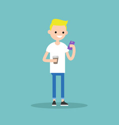 Young blond boy texting on his smartphone and vector