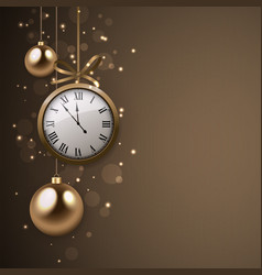2017 new year background with clock and silver vector image