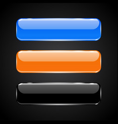 3d glass buttons blue black and orange icons vector