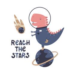 A funny dinosaur astronaut vector
