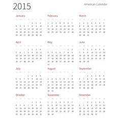 American calendar 2015 year Week starts from vector image