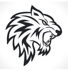 angry tiger head design vector image