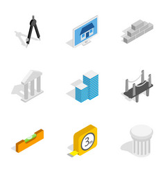 Architecture icons isometric 3d style vector
