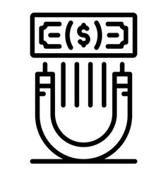 Attract money icon outline style vector