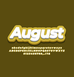 August month text 3d yellow design vector
