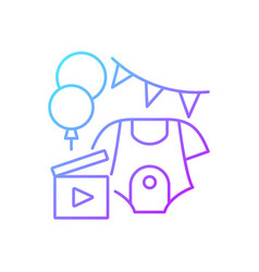 Baby shower party video gradient linear icon vector