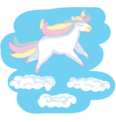 beautiful unicorn on blue scetchy background vector image