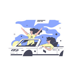 Best friends in car vector