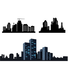black city icons on white background collection vector image